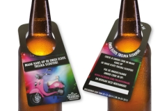 Nekhanger, fleshanger, bier promotie, hangtag, bierfles reclame, bier promoten