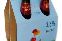 bedrukte bierverpakking, 4pack, fourpack, 4-pack, four-pack, verpakking vier flesjes bier, fiets