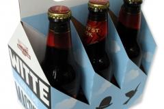 bedrukte bierverpakking, 6pack, sixpack, six-pack, 6-pack, kraft karton voor zes flesjes 60 x 60 x 60 mm met handvat