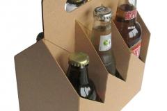 bierverpakking, 6pack, sixpack, six-pack, 6-pack, kraft karton voor zes flesjes 60x60x60 mm + handvat